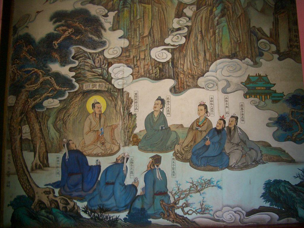 Toàn chân thất tử ngồi khoanh chân nghe thầy - Vương Trùng Dương chân nhân giảng Đạo. (Ảnh: Internet)