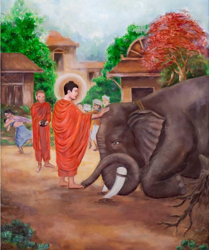 Do cảm nhận được tâm từ bi của Đức Phật nên liền quỳ phục xuống chân Ngài.