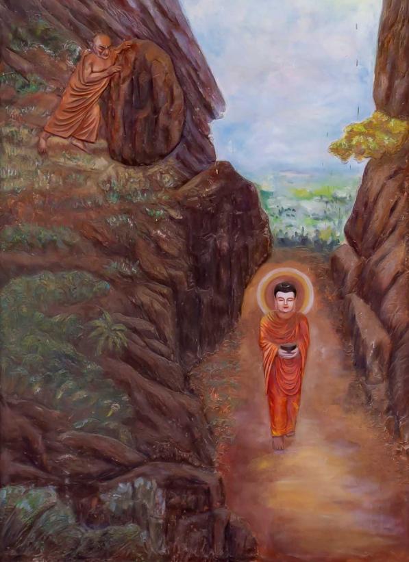 Đề Bà Đạt Đa lăn đá hại Phật khiến Phật bị chảy máu chân