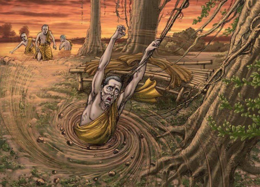 Đề Bà Đạt Đa trả quả báo cho việc hãm hại Phật và phá hòa hợp Tăng đoàn