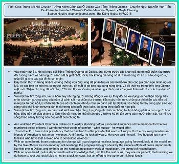 Phật Giáo Trong Bài Nói Chuyện Tưởng Niệm Cảnh Sát Ở Dallas Của Tổng Thống Obama